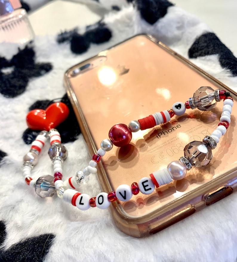 Beaded \u201cheart throb\u201d love heart red beaded phone strap bead phone charm cute love heart phone charm strap