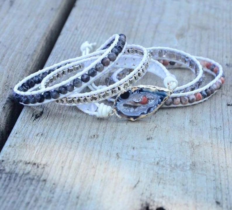 Ocos Agate /& Zebra Jasper Beaded Labradorite Gemstone Geode Wrap Bracelet