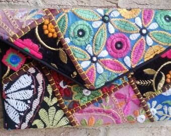 Handmade Ethnic  Boho Embroidered Floral Theme Banjara foldover Clutch Purse-Cross Body Bag (Multi Color)