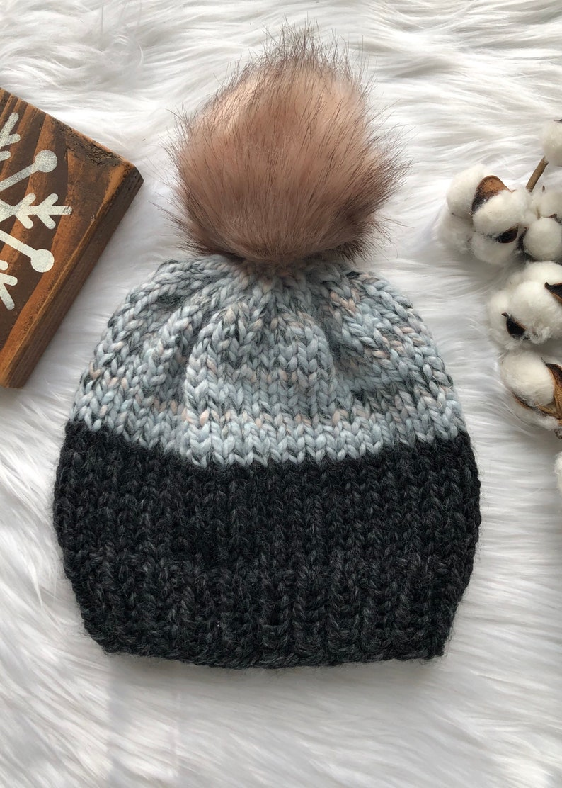Winter Hat Hand Knit Beanie Knit Chunky Winter Hat Color Block Hand Knit Hat with Pom Hand Knit Hat Chunky Knit Hat Handmade