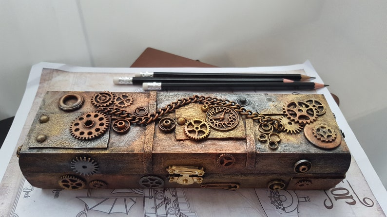 Shoptagr Wooden Steampunk Pencil Casebox By Etsy