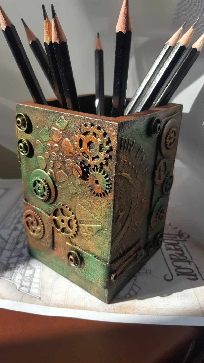 Shoptagr Steampunk Wooden Pencil Pot By Etsy