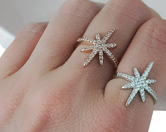 Kassandra North Star Ring. Two Colors. Adjustable.