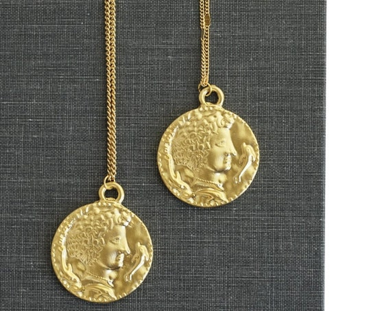 Zola Coin Pendant. Matte Gold Plated Brass.