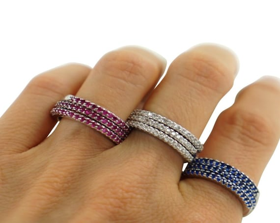 Leah Stacker Rings. Three Colors. Sterling Silver and Cubic Zirconia.