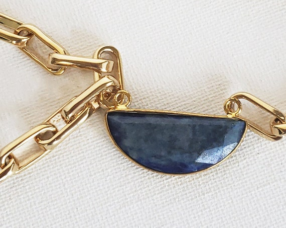 Abeer Connector. Lapis Gemstone and Gold Plating.