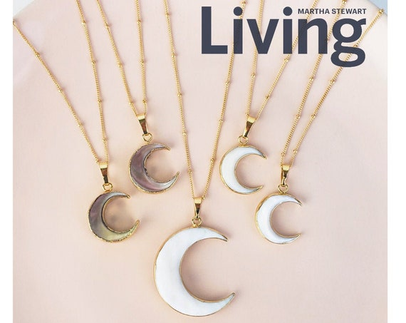 Georgina Moon Pendant. Two Colors and Two Sizes.  24K Gold Plated Natural Sea Shell.