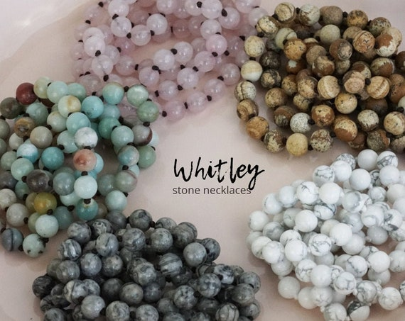 Whitley Necklace. 5 Colors. Natural Stone.