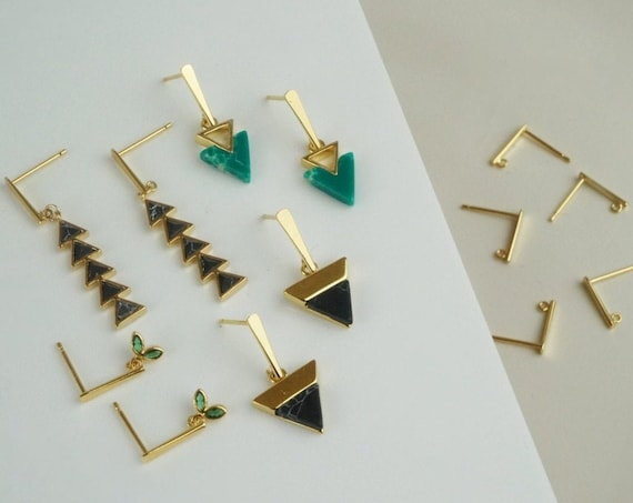 Sena Bar Earrings. Gold Plated Brass.