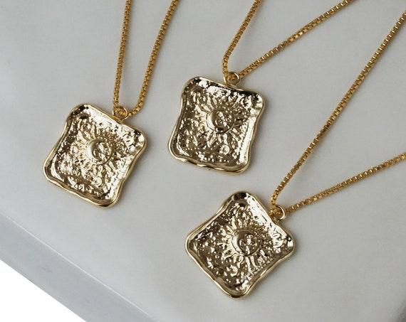 Paisley Sun Pendant. Gold Plated Brass.