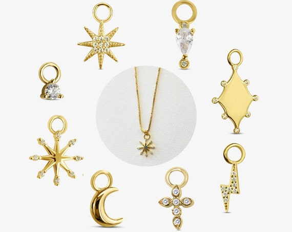8 Styles of Elaina Charms. Gold Plated Sterling Silver and Cubic Zirconia.