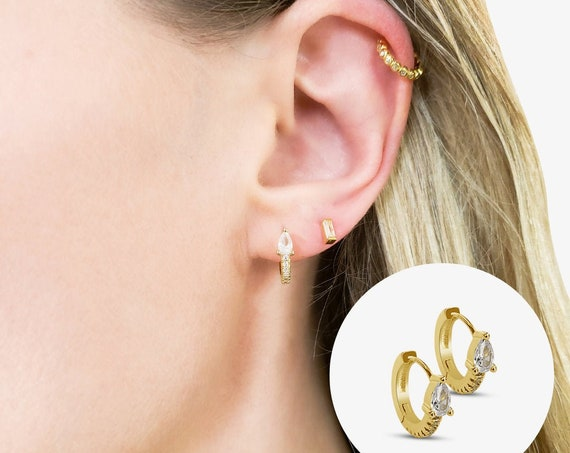 Jemma Hoops. Gold Plated Copper and Cubic Zirconia.