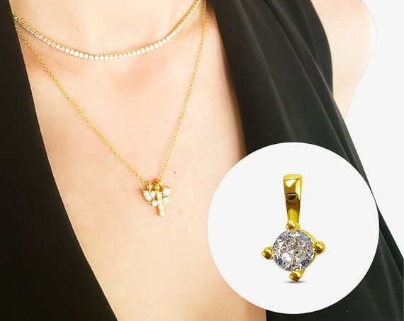 Parker Round Pendant. Gold Plated Sterling Silver and Cubic Zirconia.