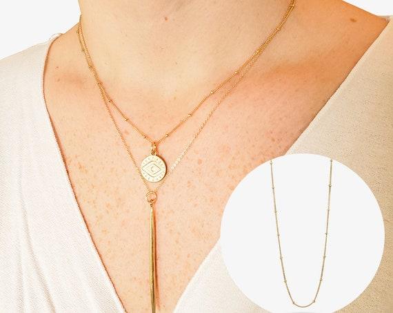 Chrissy Necklace. Adjustable Length. 14K Solid Gold.