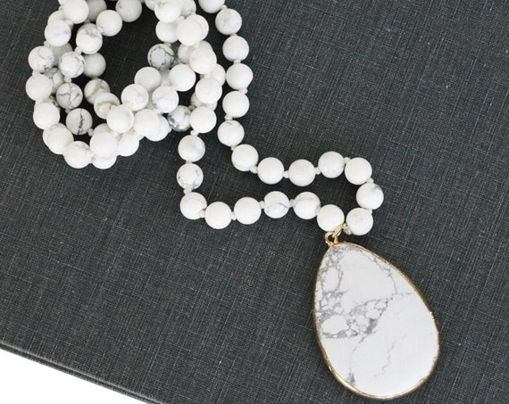Whitley Necklace. White Howlite.