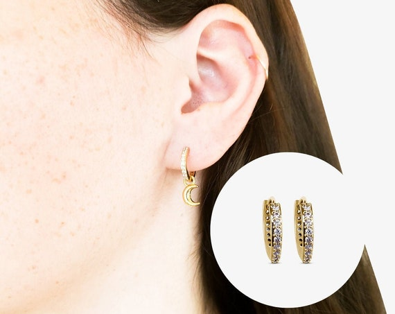 Ace Hoops. Gold Plated Copper and Cubic Zirconia.