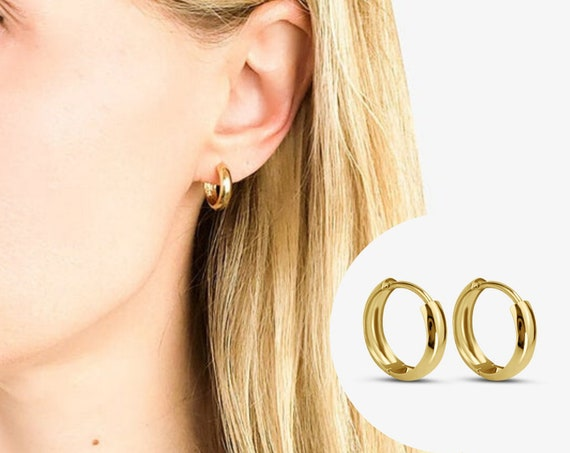 Jules Thick Hoops. 14K Solid Gold.