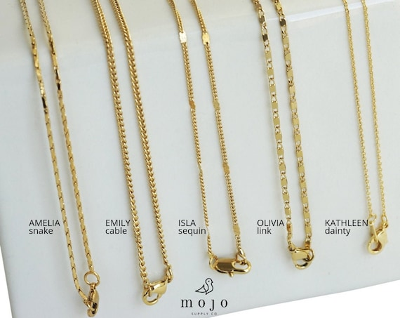 Amelia, Emily, Isla, Olivia, Kathleen Necklace. Two Lengths. Gold Plated.