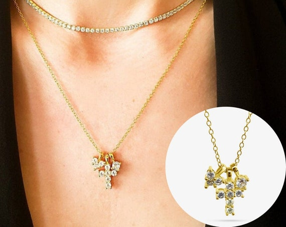 Parker Necklace Collection. Adjustable Necklace and 3 Charms. Gold Plated Sterling Silver.