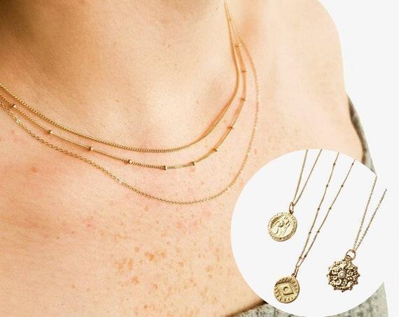 Catherine, Mercedes, Chrissy Necklace. Adjustable Lengths. 14K Gold Necklace.