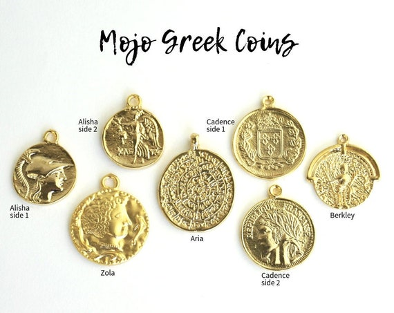 5 Greek Coin Pendant Styles. You Choose.