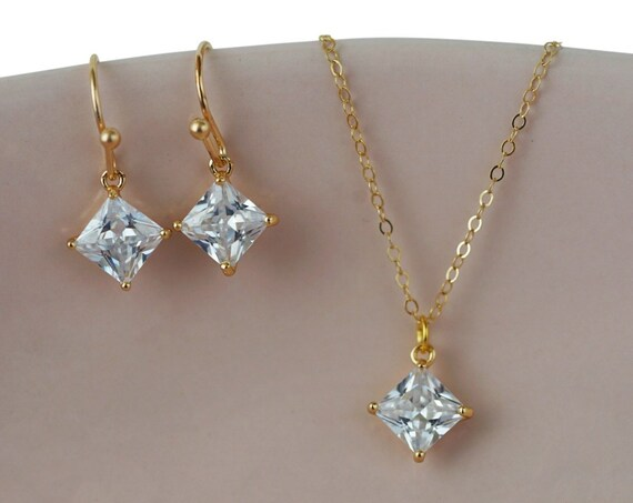 Sofia Pendant. 24K Gold Plated Brass and Cubic Zirconia.