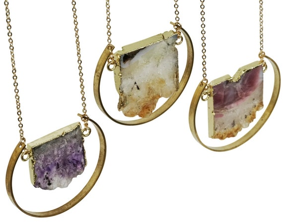 Arely Pendant. Two Colors. Amethyst or Citrine and Raw Brass.