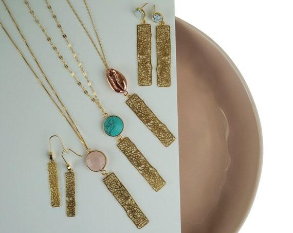 Melinda Bar Pendant. Matte Gold Plated Brass.