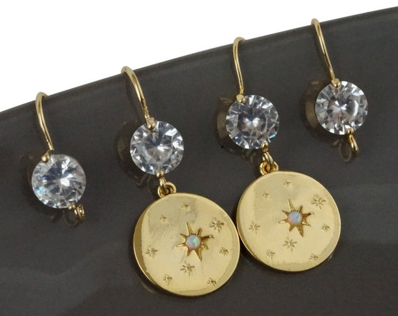Tracy Earrings. 24K Gold Plated Brass and Cubic Zirconia.