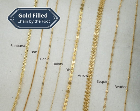 Molly, Jennifer, Alexis, Brianna, Luna, Katrina, Melanie, and Michelle Chain. Eight Types. 14K Gold Filled.
