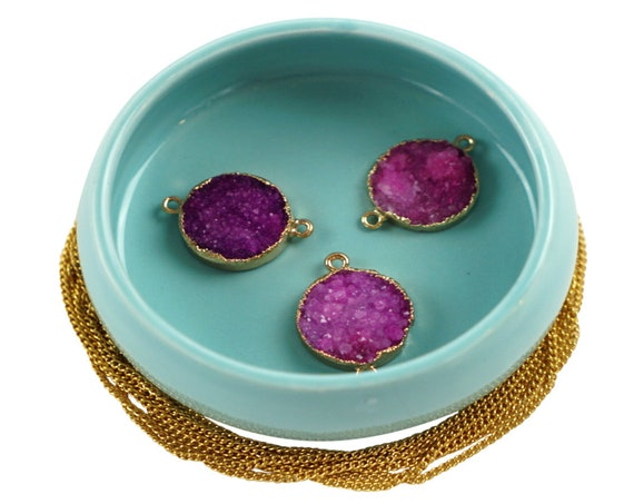 Vanessa Pink Druzy Connector. Rose Gold Plated Agate Stone.