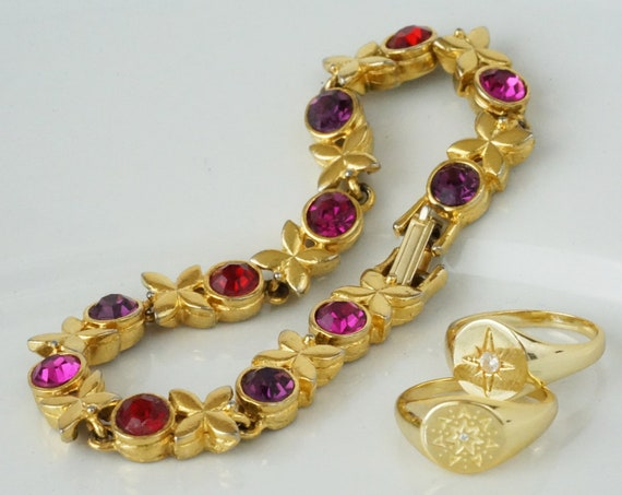 Vintage Alexis Bracelet. Rhinestones and Gold Plating.