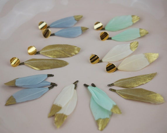 Tammy Feather Pendant. Eleven Colors. Gold Dipped Feather and Gold Plated Brass.