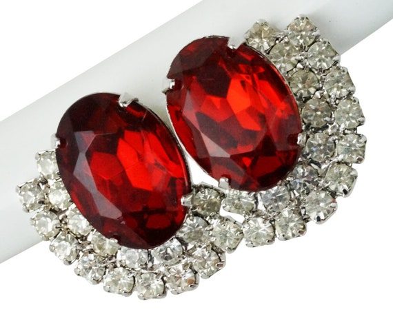 Vintage Hollywood Glam Jo Earrings. Ruby Red Rhinestones and Silver Plating.