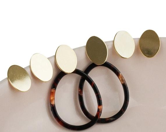 Esme Oval Earrings. 24K Gold Plated Brass.