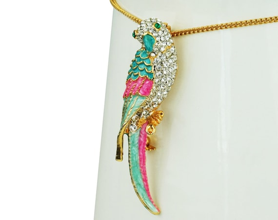 Vintage Saylor Bird Brooch. Rhinestones and Gold Plating.