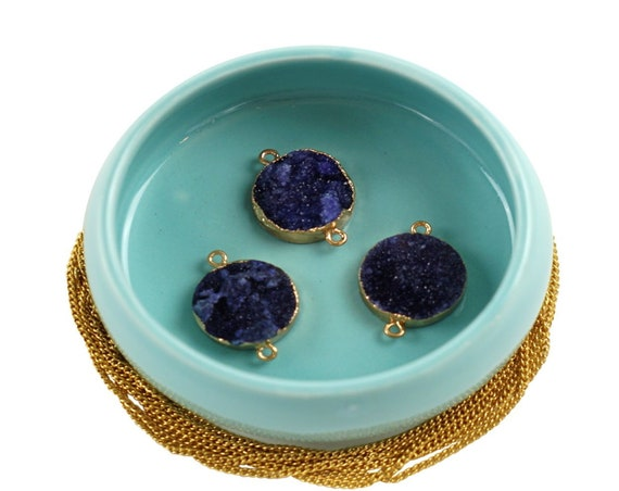 Vanessa Purple Druzy Connector. Rose Gold Plated Agate Stone.