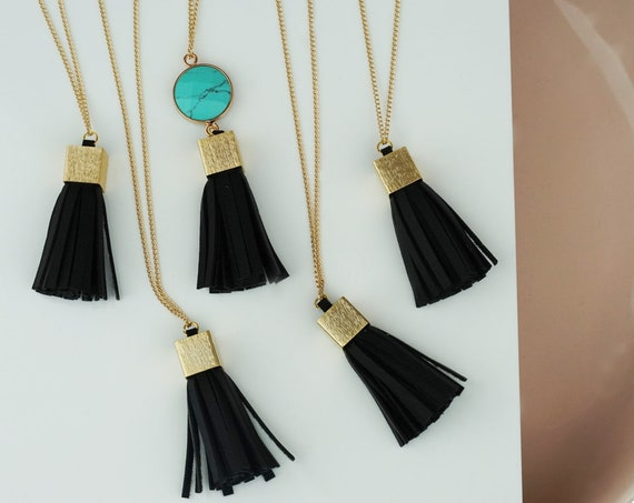 Riya Tassel Pendant. Synthetic Leather and Brushed Gold Brass.