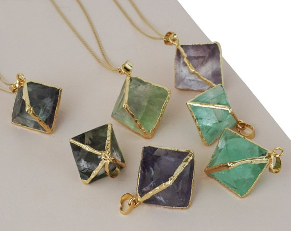 Holland Pendant. Flourite and Gold Plating.
