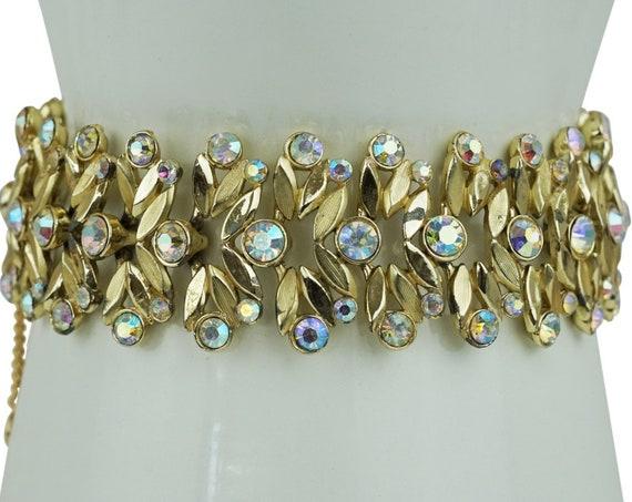 Vintage Leaves Fern Bracelet. Aurora Borealis Rhinestones and Champagne Gold Plating.