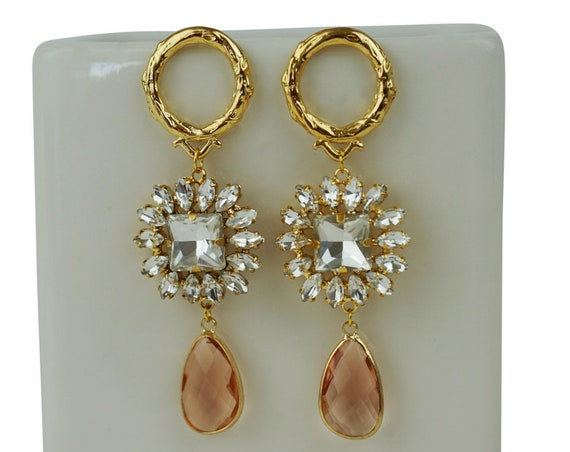 Payton Crystal Connector. Gold Plated Brass and Glass.