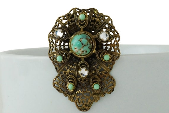Vintage Ida Clip. Turquoise, Rhinestones and Filigree Gold Plated Metal.