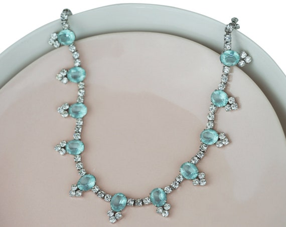 Vintage Della Necklace. Rhinestones and Silver Plating.