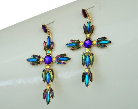 Vintage Regina Earrings. Aurora Borealis Navette Rhinestones and Gold Plating.