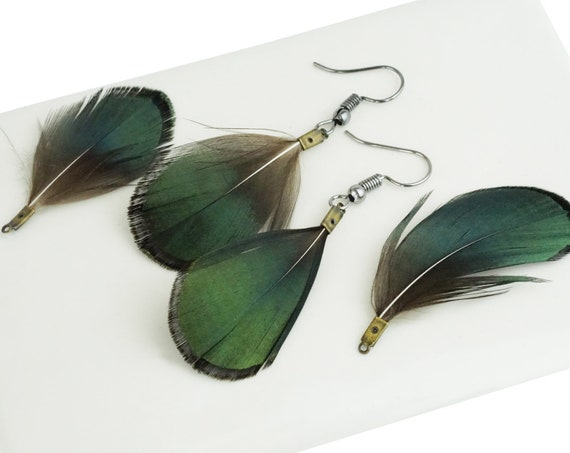 Collins Feather Pendant. Feather and Brass.