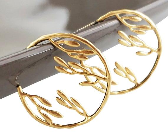 Paulina Hoop Earrings. Matte Gold Plated Brass.