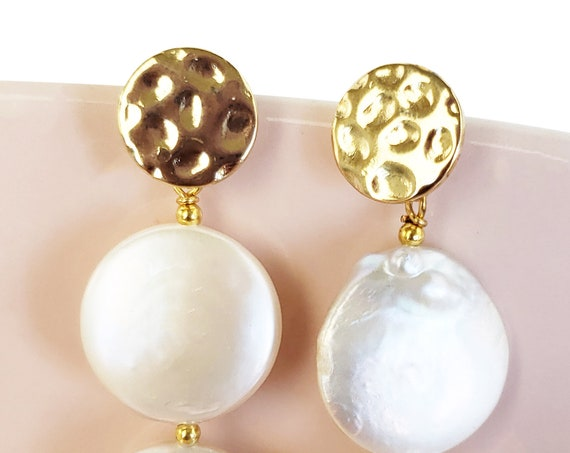 Kenia Studs. Gold Plated Brass and Sterling Silver Posts.