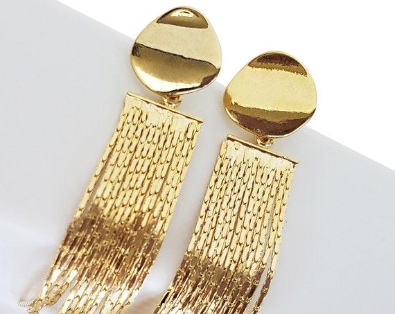 Mia Earrings. Gold Plated Brass.