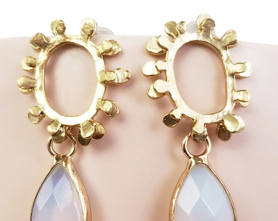 Lailah Earrings. Matte Gold Plated Brass and Sterling Silver Posts.