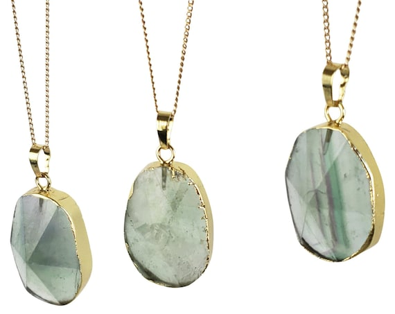 Marcella Pendant. Flourite and 24K Gold Plating.